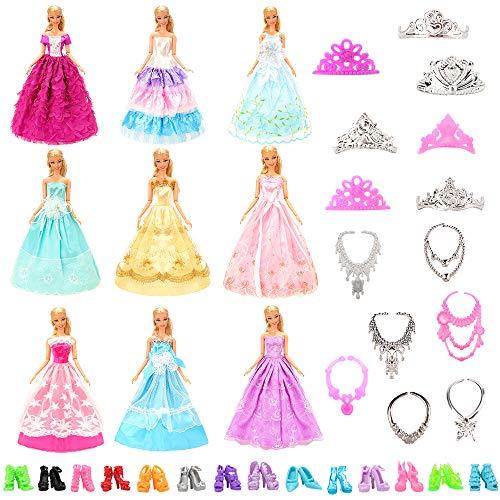 Miunana 27 Kleidung Schmuck Zubehör Hochzeit Party Abendkleider für Puppen = 10 Kleider + 5 Schuhe + 6 Ketten + 6 Kronen für Puppen