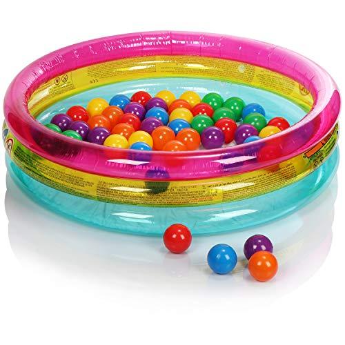 com-four® Bällebad - Baby-Planschbecken mit bunten Spielbällen - Aufblasbarer Mini-Pool für Kleinkinder