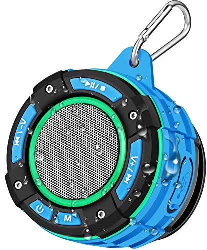 Bluetooth Tragbarer Dusche Lautsprecher, BassPal IPX7 Wasserdichter Bluetooth Lautsprecher mit Lautem HD Sound, Lichtshow, Saugnapf, Stabiler Haken, Kabellose Musikbox für Das Poolwandern im Sportheim