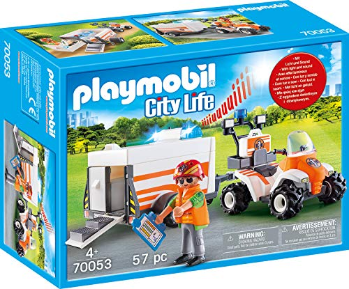 PLAYMOBIL 70053 City Life Quad mit Rettungsanhänger, bunt