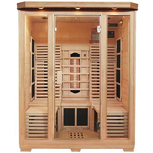 Artsauna Infrarotkabine Helsinki 150 – Triplex-Heizsystem Infrarotsauna - 3 Personen – 2 Liegen, LED-Farblicht, digitale Steuerung – Hemlock-Holz