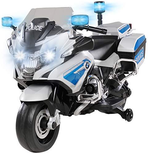 Kinder Polizei Elektromotorrad BMW R1200 Polizeimotorrad Elektroauto Elektro Kinderauto 30 Watt Motor Lizenziert mit Blaulicht