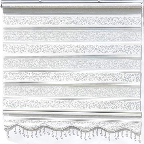 Doppelrollo Weiß Silber glitzert Duorollo für Fensterrollos Gardinen Zebra Perde 80 x 200 cm