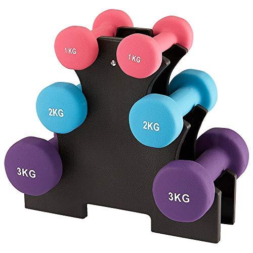 Kurzhanteln Fitness Hanteln 6er Set Hantelset mit Hantelständer, 2 x 1 kg, 2 x 2 kg, 2 x 3 kg Kurzhantel Set für Gymnastik, Aerobic, Pilates Fitness Krafttraining für Frauen, zu Hause Fitnessstudio
