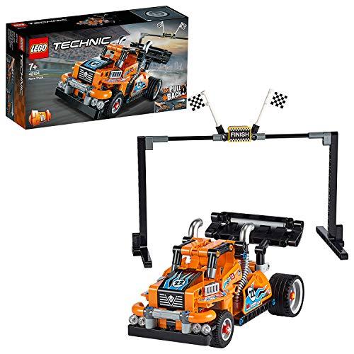 LEGO 42104 Technic Renn-Truck oder Rennauto, 2-in-1 Modell mit Rückziehmotor, Sammlung von Rennfahrzeugen