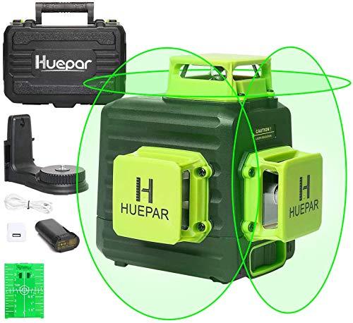 Huepar 3 x 360 Kreuzlinienlaser mit Litium-Ionen Batterie, Grüner Selbstnivellierenden Drei 360°-Laserlinie, Li-Ionen-Akku mit Ladeanschluss Typ C, Hartschalenkoffer enthalten - B03CG Pro