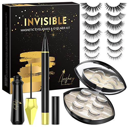 AOVSHEY Invisible Magnetische Wimpern Eyeliner Set Ultraleicht Magnetic Lashes Magnetic Eyelashes 7 Paar