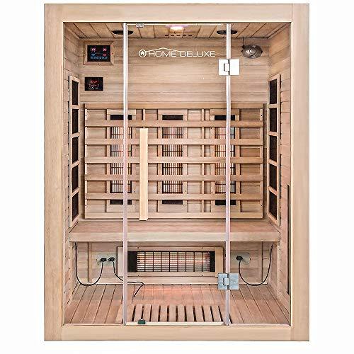 Home Deluxe – Infrarotkabine – Sahara L – Vollspektrumstrahler – Holz: Hemlocktanne - Maße: 150 x 120 x 190 cm – inkl. vielen Extras und komplettem Zubehör