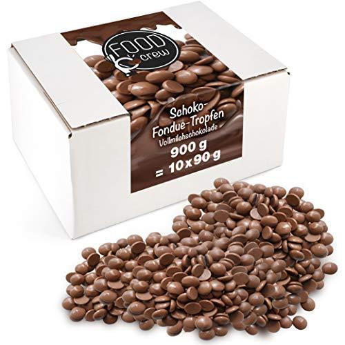 Sweet Wishes 900g Belgische Fondue-Schokolade Vollmilch-Drops - zart schmelzender Hochgenuss feine Leckerei für Schoko-Brunnen Fondue-Sets - beste Qualität - 10 Portionsbeutel je 90 g einzeln verpackt
