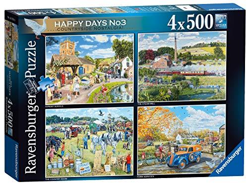 Ravensburger 16578 Happy Days No.3 Country Nostalgia Puzzle 4 x 500 Teile für Erwachsene & Kinder ab 10 Jahren, Mehrfarbig, Set