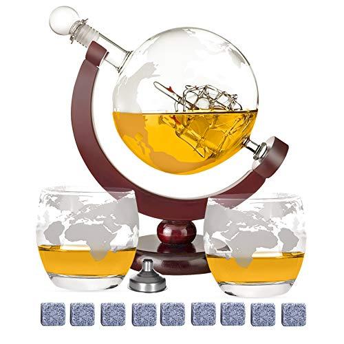 DUTISON Whisky Karaffe Globus Alkohol - Dekanter Bar Set mit Gläser Holzständer Weltkarte Geschenke für Männer Frauen Glas Flasche Zubehör für Gin Rum Scotch Likör Bourbon Wodka