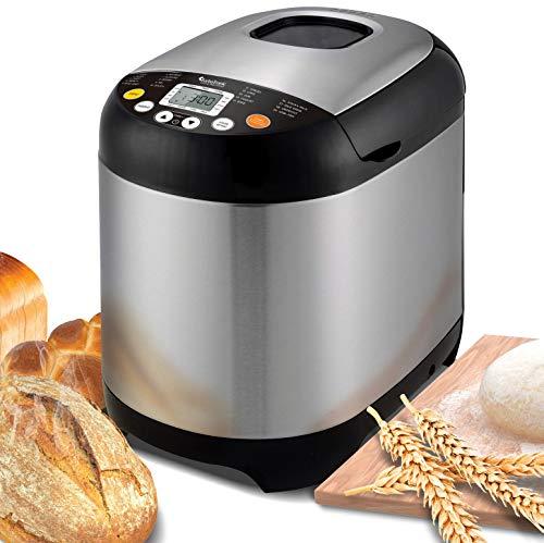 TurboTronic/Brotbackautomat / 500-1000g / silber Edelstahl / 19 Programme für Joghurt, glutenfreies Brot, Marmelade