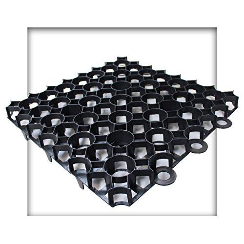 Kieskönig Rasengitter 50x50x4 cm schwarz Rasengitterplatten Rasenwaben Rasenmatten mit Bodenkreuzen Bodenwaben 12 Stück (3 m²)