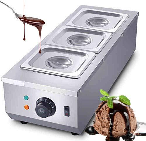 Huanyu Schokoladenschmelzgerät 1500W Kommerziell Temperiergerät Schokolade Schmelztiegel für Kuvertüre Milch Sahne Seife inkl. 3 Schmelztöpfe 220V