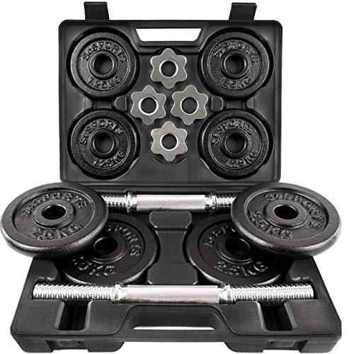 ScSPORTS® 20 kg Hantelset mit Koffer, 2X Kurzhanteln 30 mm und 8 Hantelscheiben (4X 2,5 kg und 4X 1,25 kg), Kurzhantelset Gewichte Guss