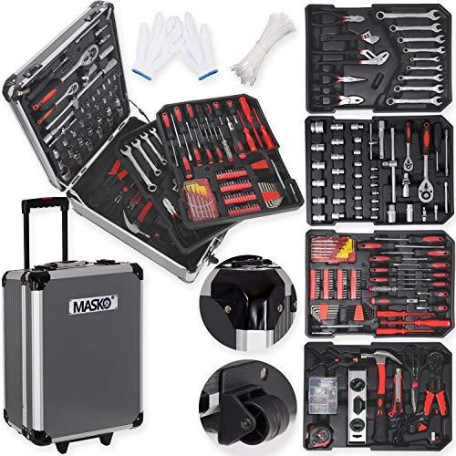 Masko® 969 tlg Werkzeugkoffer Werkzeugkasten Werkzeugkiste Werkzeug Trolley Profi 969 Teile Qualitätswerkzeug Anthrazit