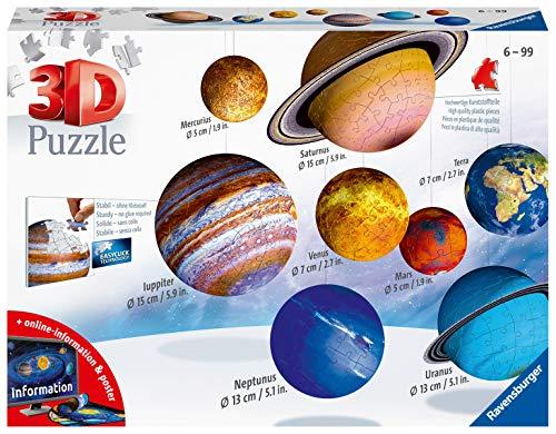 Ravensburger 3D Puzzle Planetensystem für Kinder ab 7 Jahren - 8 Puzzleball-Planeten als Sonnensystem Modell mit Poster - Modellbau ganz ohne Kleben