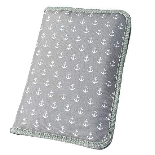 Wickeltasche für unterwegs mit Ankerprint grau (Farbe & Motiv wählbar) I praktische Windeltasche mit Fächern für Windeln, Feuchttücher etc.