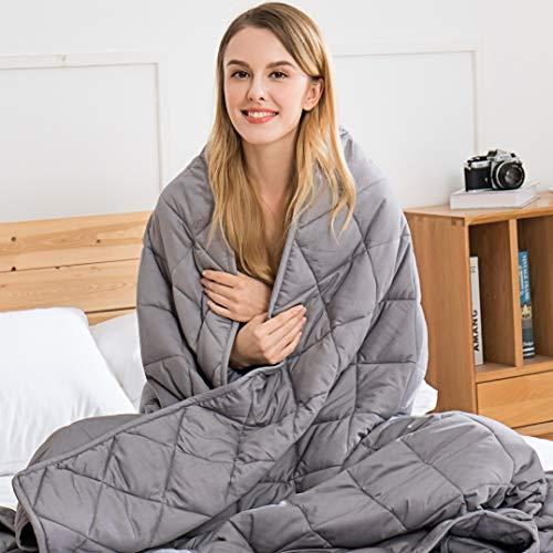 jaymag Gewichtsdecke 135x200cm 7kg Therapiedecke für Erwachsene Kinder Schwere Decke für Besseren Schlaf, Stressabbau und Angstzustände Beschwerte Decke 100% Baumwolle Weighted Blanket