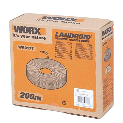 WORX WA0177 Begrenzungsdraht für Landroid Mähroboter – 200m stabiles Begrenzungskabel zum Eingrenzen des Mähbereiches