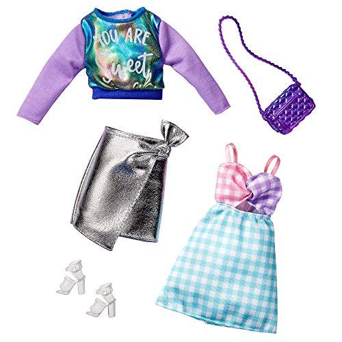 Barbie GHX62 - Barbie Fashions 2er-Pack Moden aus Kleidung und Accessoires mit schimmerndem Sweatshirt