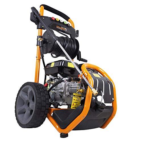 Strahlemann Benzin Hochdruckreiniger SM-LB180D Druckreiniger (5 x Düse, Hochdruckpistole, 7 PS, Druck: 220 bar, max. Fördermenge: 540 l/h) ideal für Terasse, Auto und Garten
