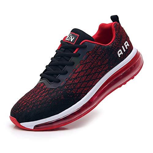 TORISKY Sneaker Herren Damen Sportschuhe Cushion Schuhe Laufschuhe Luftkissen Turnschuhe Fitness Gym Leichtes Bequem(8998-BK/Red39)