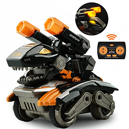 GizmoVine Dinosaurier Spielzeug mit Ferngesteuertes,360 Grad Drehen Stunt Auto Spielzeug mit LED Licht und Dino & Tank Ton für Kinder Jungen Mädchen 2 3 4 5 6 7 8 Jahren (Orange)