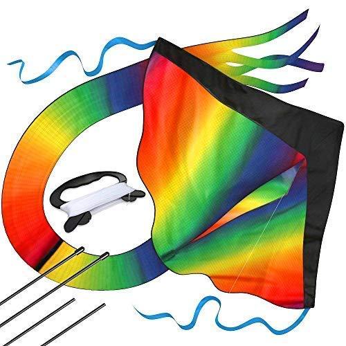 Riesiger Regenbogen-Leichtwinddrache mit 50m Drachenschnur - Lenkdrachen für Kinder - Kinder-Drachen - Flugdrachen Einleiner mit eBook zum Download - Fliegt wie 'ne Eins, bei leichter Brise