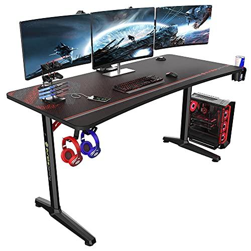 EUREKA ERGONOMIC Gaming Tisch Groß P60 Gaming Schreibtisch 152 * 70cm Gamer Tisch mit Getränkehalter und Kopfhörerhalter USB-Ladegerät Schwarz