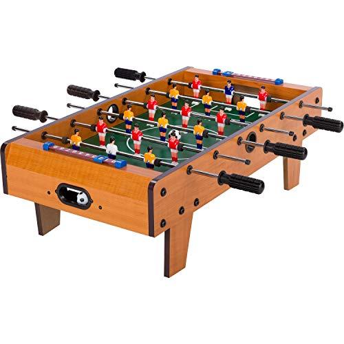 """Maxstore Mini Kicker Tischfußball """"Chelsea"""", helles Holzdekor, Maße: 70x37x25 cm, Gewicht: 4 kg, 6 Spielstangen, Kleiner Kinder Tischkicker inkl. 2 Bälle"""