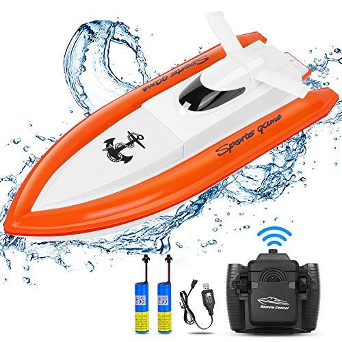 STOTOY Ferngesteuerte Boote, Schnelle Geschwindigkeit RC Boot, 2.4GHZ Fernbedienung Schnell Boot Spielzeug, High Speed Racing Ferngesteuert Boot Motorboot Geschenke für Jungen Mädchen Erwachsene