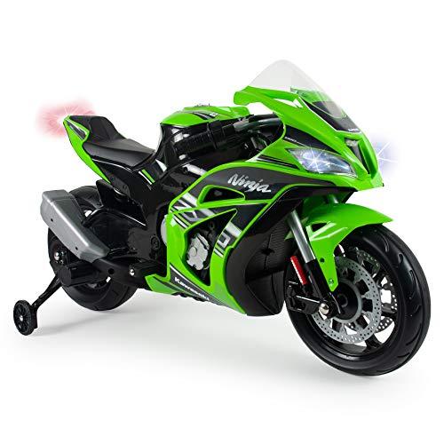 INJUSA - Kindermotorrad Ninja Kawasaki ZX10 12V mit MP3 und Stabilisierungsrädern, Empfohlen für Kinder ab 3 Jahren