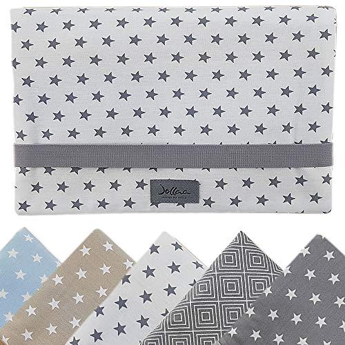 Windeltasche für unterwegs, kleine Wickeltasche für Windeln & Feuchttücher, Windeletui, Wickelmäppchen SmukkeDesign (Stern Weiss Grau)