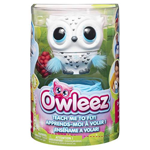 Owleez 6046148 - fliegende interaktive Spielzeug - Babyeule mit Leuchteffekten und Sound, weiß
