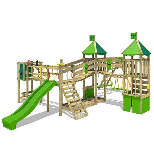 FATMOOSE Spielturm Kletterturm FunnyFortress Free XXL Ritterburg mit apfelgrüner Rutsche, Doppelschaukel, Surfanbau und Sandkasten