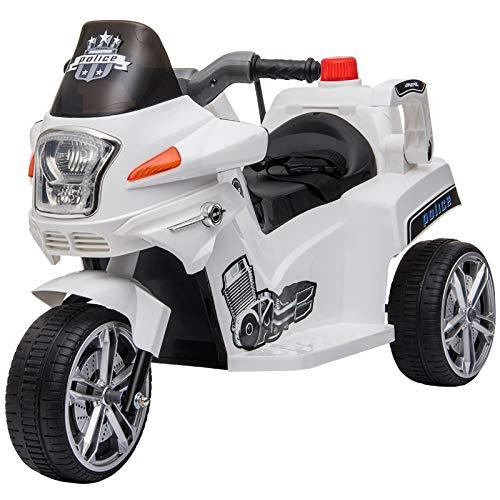HOMCOM Elektrofahrzeug, Kinderfahrzeug, Kindermotorrad, Elektro-Motorrad mit Schutzbügeln, Dreirad, 3-6 Jahre, PP, Weiß, 87 x 41 x 54 cm