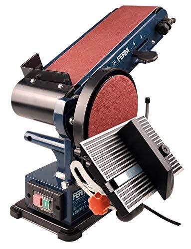 Ferm Bandschleifmaschine – 350W – 150mm - einschl. 2 Schleifbänder (P80 & P120) und 2 Schleifscheiben (P80 & P120), BGM1022