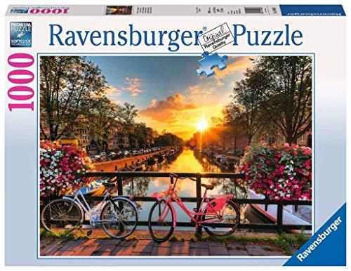 Ravensburger Puzzle 1000 Teile Fahrräder in Amsterdam inklusive Puzzle-Conserver dem transparentem Puzzlekleber, um Puzzles zu fixieren und aufzuhängen