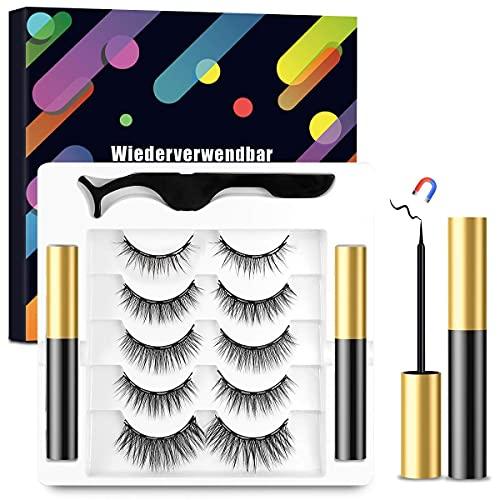 Magnetische Wimpern mit Magnetischem Eyeliner Kit,5 Paare Magnetische Eyelashes und 2 Wasserdichten Magnetischen Eyeliner,Softe und Wiederverwendbare 3D Künstliche Wimpern
