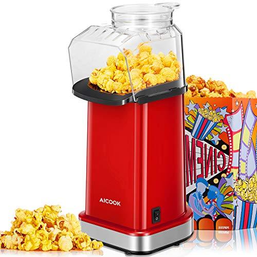 Aicook Popcornmaschine, 1400W Automatische Popcorn Maker für Zuhause, Weites-Kaliber-Design, Heissluft Ohne Fett Fettfrei Ölfrei, BPA-Frei