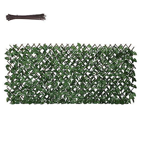 Sekey Künstliche Hecke 100 x 200 cm, Ausziehbarer Zaun Sichtschutz Kunstpflanzen Sichtschutzfächer fächer für Garten, Balkon und Terrasse, mit Kabelbinder
