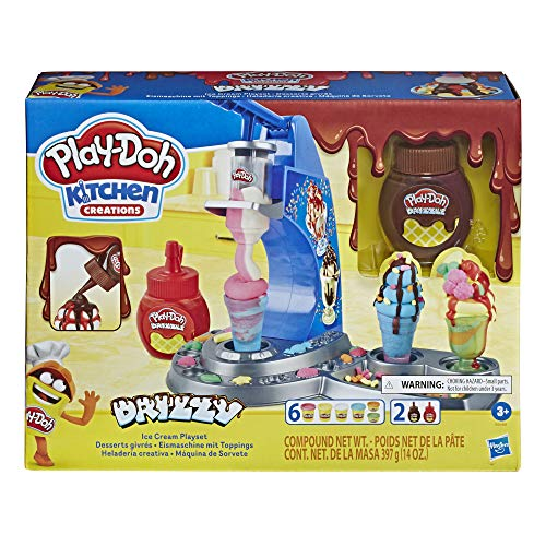 Play-Doh E6688 Drizzy Eismaschine mit Toppings, inklusive Play-Doh Drizzle Knete und 6 Play-Doh Farben