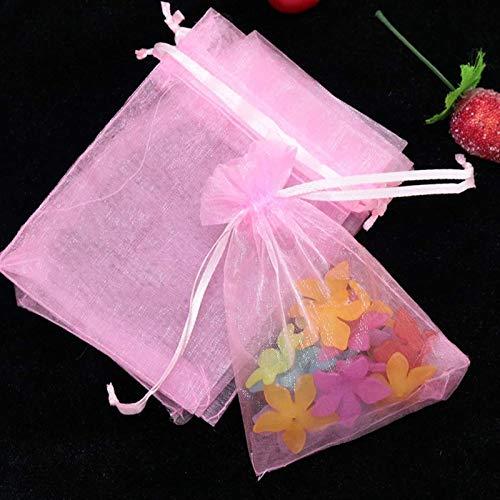 100 teile/los (9 Größen) Organza Geschenk Tasche Schmuck Verpackungstasche Hochzeits Party Dekoration Gefälligkeiten Zeichentliche Geschenktüte (Farbe: Rosa, Geschenktüte Größe: 20x30cm) GIAOYAO