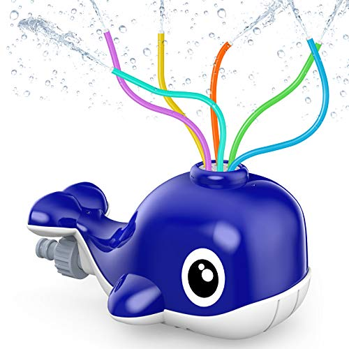 Wassersprinkler für Kinder, Garten Spielzeug, Wasserspielzeug mit 6 Schlauch, Wasserrutsche Garten in Wal Fun Toy für Kinder im Freien Spielen