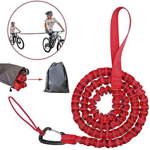 Kinder Fahrrad Abschleppseil, Fahrrad-Abschleppgurt Elastisch, Fahrrad Bungee Abschleppseil, Eltern Kind Zugseil Abschleppseil Rot Bike Traktionsseil, Tragfähigkeit 500 lbs