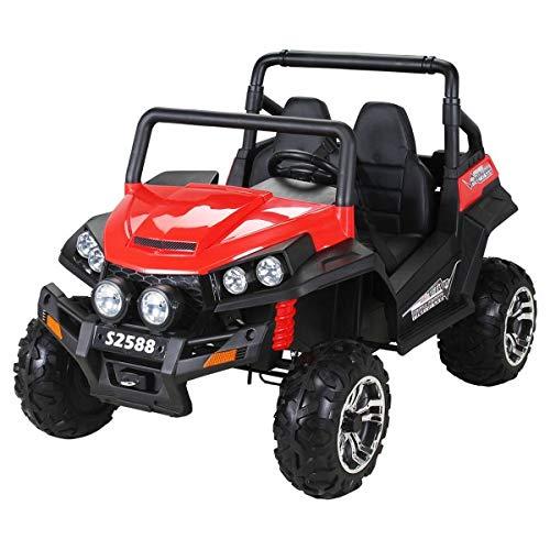 Kinder Elektroauto Maverick Buggy Offroad - Lizenziert - 4x4 Allrad - USB - Sd Karte - 4 x 45 Watt Motor - 2 Personen - Rc 2,4 Ghz Fernbedienung - Elektro Auto für Kinder ab 3 Jahre (Rot/Schwarz)