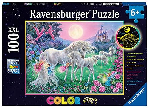 Ravensburger Kinderpuzzle - 13670 Einhörner im Mondschein - Einhorn-Leuchtpuzzle für Kinder ab 6 Jahren, mit 100 Teilen im XXL-Format, Leuchtet im Dunkeln