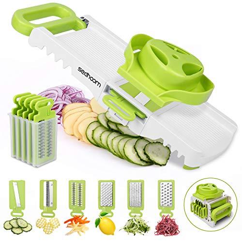 Sedhoom 6 in 1 Gemüseschneider, Spiralschneider, Gemüsehobel verstellbar mit 6 Klingenl, Reiben, Julienne, Hobeln, Ideal zum Schneiden vom Waffel Chips (Mehrweg)
