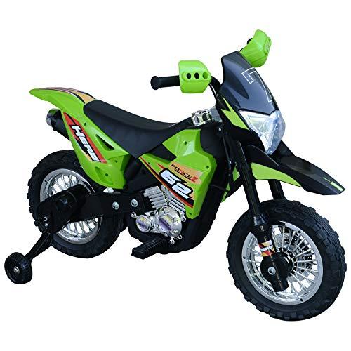 HOMCOM Elektro-Motorrad Kindermotorrad Elektrofahrzeug 3 bis 6 Jahre 3–6 km/h MP3 Musik LED-Licht Sound Metall + Kunststoff Grün 107 x 53 x 70 cm